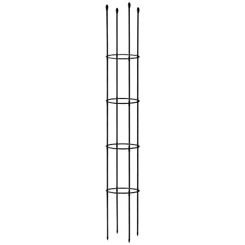 Vurucaa 1 x extra großer 172,7 cm Gartenspalier Obelisk, für Kletterpflanzen, Blumenstützrahmen, mit Regal, rund, Ringen, Rankstäbe, Pflanzkäfig, schwarz
