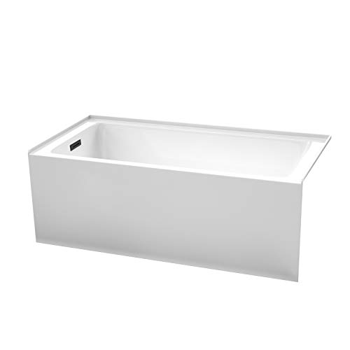 Grayley 60 x 30 Inch Alcove Bathtub in White with Left-Hand Drain and Overflow Trim in Matte Black