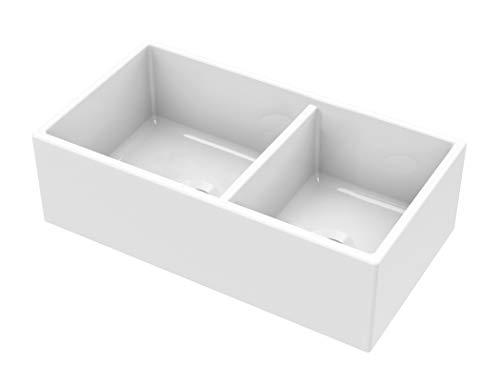 MSFC6040PLN 33-in 60/40 Double Bowl Fireclay Apron Front Farmhouse Kitchen Sink …