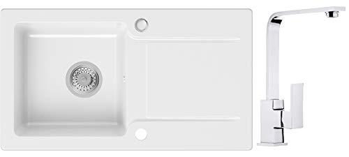 Küchenspüle Weiß 78 x 44 cm, Spülbecken + Wasserhahn Küche Chrom + Siphon, Multipel Spülen in 5 Farben und Armatur Varianten, Granitspüle ab 45er Unterschrank, Einbauspüle von Primagran