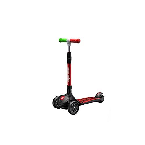 QIXIAOCYB Scooter con Wheels Flash Kids Scooter 4 altura ajustable Scooter PU extra ancho LED LED Ruedas de 3 ruedas Scooter para niños Aprende a dirigir el rojo (Color : Black)