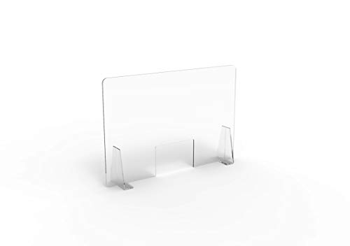 Pannello Protettivo Parasputi Parafiato da Banco in Plexiglas Trasparente misura 100x67 cm (MEDIUM)