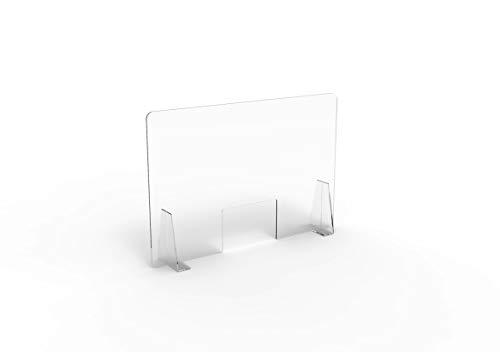 Pannello Protettivo Parasputi/Parafiato da Banco in Plexiglas Trasparente misura 100x67 cm (MEDIUM)