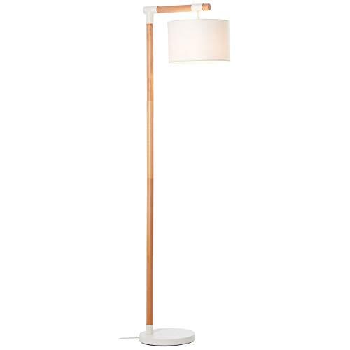 BRILLIANT lamp Eloi vloerlamp 1,68 m naturel/wit |1x A60, E27, 60W, geschikt voor standaardlampen (niet inbegrepen) |Schaal A ++ tot E |Met voetschakelaar