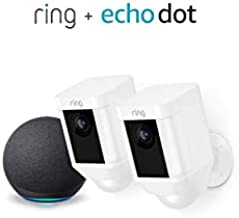 Ring Spotlight Cam Battery HD Security Camera - 2-Pack (White) and Echo Dot (4th Gen)