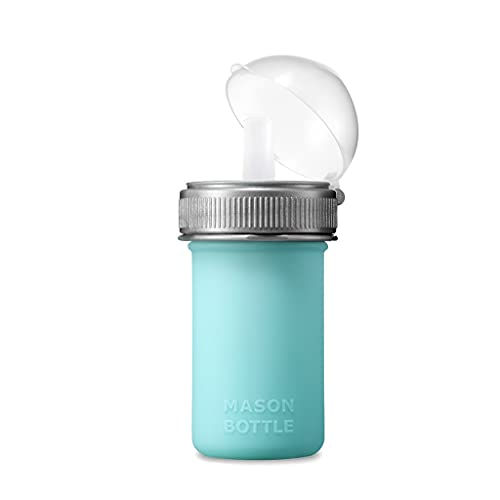 Mason Bottle Silicone Squeeze Pouch - Lightweight, Bite-Proof, Soft Food and Liquid Friendly, BPA & BPS Free, Dishwasher Safe, Made in The USA (8 Ounce, Teal) (8 OZ, Teal)