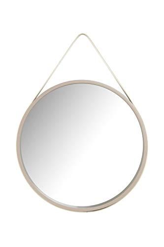 Spiegel Rund Mit Gurt Riemen Leder Holz Optik Dekospiegel Ø Ca. 50cm Beige Creme