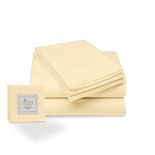 Pizuna 400 Hilos Juego de sábanas Amarillo Claro de 150 x 200, 3 Piezas, 100% algodón de Fibra Larga y satén, Transpirable, el Juego Incluye: 1 sábana Plana + 1 sábana Ajustable + 2 Fundas de Almohada
