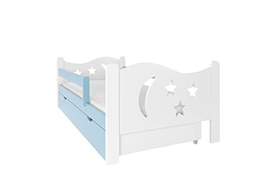 NeedSleep - Cama infantil (80 x 160 cm, color azul) con protección anticaídas, 80 x 140 cm, 80 x 160 cm, 80 x 180 cm, somier y cajón, para niños a partir de 2 años