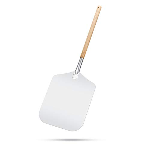 G.a HOMEFAVOR Aluminum Pizza Peel Paddle with Wooden Handle for Easy Storage 12 x 14 Inch, Large Pizza Spatula Cutting Board for Baking Homemade Pizza Bread and Cheese Serving Tray Oven or Grill Use