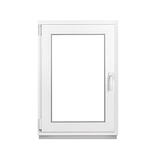 Kunststofffenster Weiß - Kellerfenster 2 Fach Verglasung BxH: 400 x 600 mm - Alle Größen - Garagenfenster/Gartenhaus Fenster 40 x 60 cm - 58 mm Profil - Din Links - Funktion Dreh Kipp Fenster