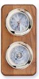 Clock and Barometer Brass Weather Station on Oak Wood Base