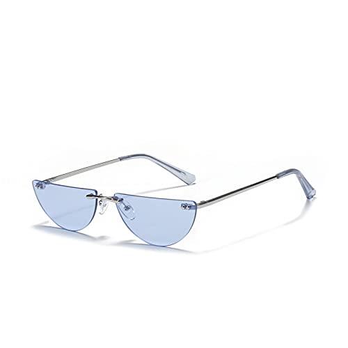 FENGHUAN Gafas de sol con lentes de color sin montura semicirculares Gafas de moda retro para hombres y mujeres Azul marino