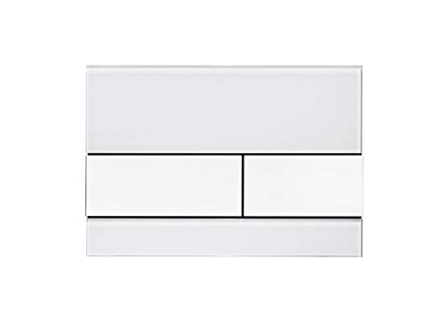 Tece 9.240.800 Square Betätigungsplatte für WC (Glas, Tasten weiß, Zweimengentechnik, bedienbar von Oben und vorne) 9240800
