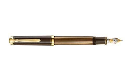 Pelikan 813877 Special Edition Kolbenfüllhalter Souverän M800, Braun-Schwarz, Feder M