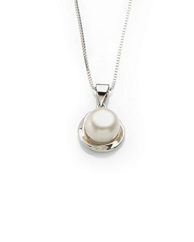Colgante con Perla Natural Auténtica para Mujer,Madre.Perla de Agua Dulce Colgante para Cada Ocasión Colgante para Boda con Perla cultivada de 8mm