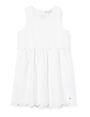 Tommy Hilfiger Mädchen Eid Broderie Anglaise Dress Kleid, Weiß (White Ybr), 134/140 (Herstellergröße: 10)