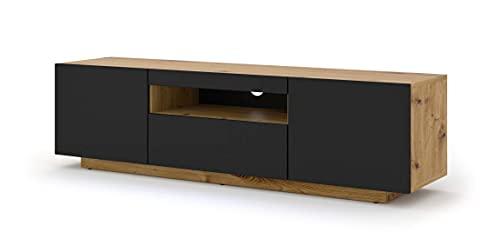Mueble bajo para TV Aura de 150 cm, para colgar o de pie, universal, mueble para televisión, aparador, mesa de alta fidelidad (roble Artisan y negro mate sin LED)