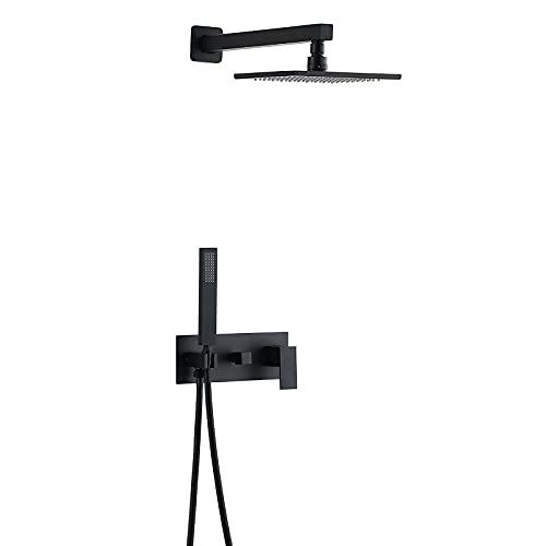 Ksunun Sistema de Ducha Empotrados Conjunto de Ducha Latón Negro Juego de Ducha Oculto con 20 CM Alcachofa Ducha Lluvia y Ducha de Mano, Tecnología de Inyección de Aire, Sin Grifo