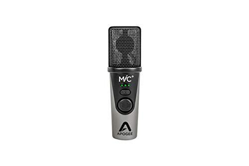 Apogee Mic Plus – Micrófono USB de Calidad de Estudio con cápsula de micrófono de Condensador cardioide, micrófono Incorporado preamplificador y Salida de Auriculares de latencia Cero