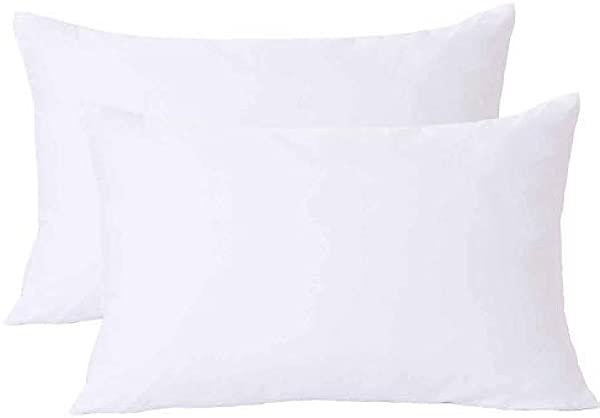 NANKO Queen 枕套 2 个装枕头套带拉链柔软舒适超细纤维家用酒店床纯白色 20x 30 英寸