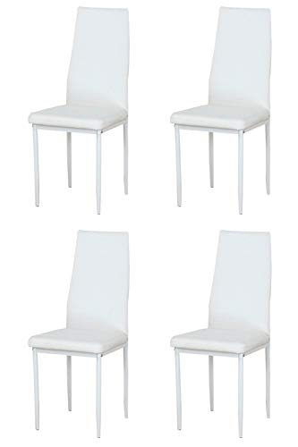 Muebles Home - Set di sedie da cucina con schienale alto e schienale alto, in pelle PU, gambe in metallo, angolo in attesa, sala da pranzo e sala da pranzo