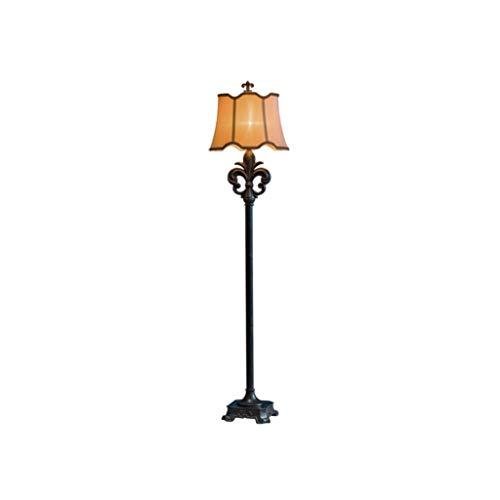 66 'American Retro Lámpara de pie Protección de ojos Marrón Encaje Tela Pantalla Protección del Medio Ambiente Resina hecha a mano Negro Lámpara Estándar