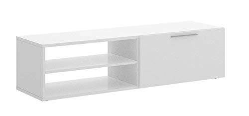 Mobelcenter - Mueble TV Blanco - Módulo Televisión Blanco - Mueble TV 131 cm de Ancho x 33 cm Alto x 40 cm de Fondo (1059)