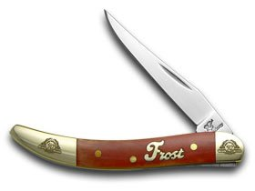 Frost Family 40th Anniversary Dark Red Smooth Bone 1/600 Toothpick Pocket Knife Knives