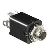 BestPlug Audio Stereo Aux in Out 6,3mm Klinke Einbaubuchse Terminal weiblich 3pol, Schwarz