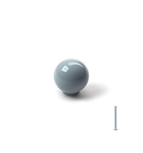 Pomo para armarios, cajones y mueble,tiradores de cajones de diferentes modelos y colores, pomos redondos, para puertas - con un agujero tornillo incluido (Bola grisña, Ø29mm)