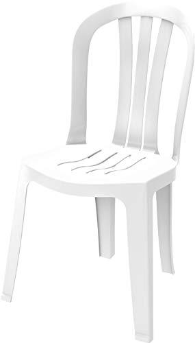 Duramax Baroness-Silla plástico, para Interiores y Exteriores, jardín, Patio, Comedor, hogar y Fiesta, Duradero, Resistente a la Intemperie y apilable, Color Blanco