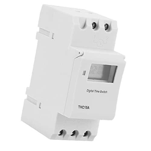 Interruptor ferroviario temporizador programable THC15A 220-240VAC temporizador digital LCD para dispositivos automáticos de retransmisión,