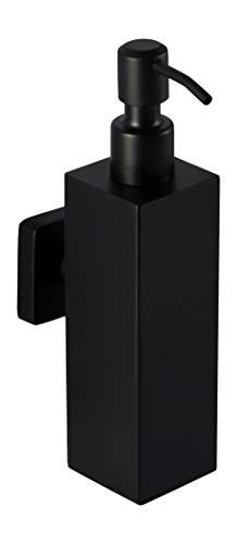 Ambrosya - Seifenspender aus Edelstahl in Schwarz - Bad Badezimmer Bohren Halter Halterung Seife Seifenhalter Seifenhalterung Seifenschale Spender Wand WC (Edelstahl (Schwarz), Eckig)