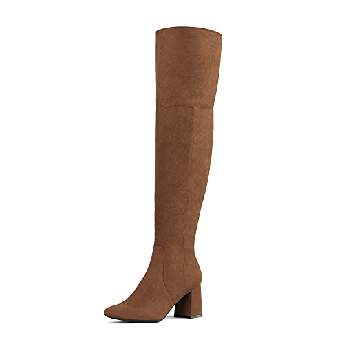DREAM PAIRS Women's DOB213 Thigh High Over the Knee Fashion Chunky Heel Long Boots,Brown Suede, Size 6.5