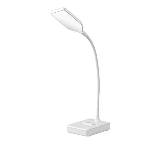 BIAOYU Lámpara de escritorio pequeña para estudiantes con luz LED de atenuación táctil y protección ocular giratoria para estudiar y trabajar (color: blanco)