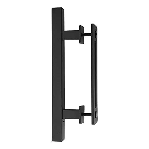 DASNTERED Manija de puerta corredera de granero, juego de tiradores de puerta de acero al carbono con tornillos y llave, manija para granero/gabinete/armario (tipo 2)