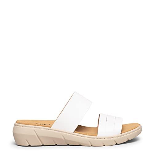 Confort Sandalias Blancas de Piel con Plantilla extraíble