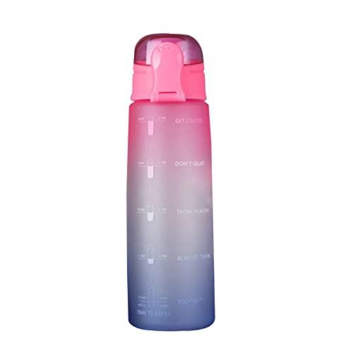 ZZDH Botella de Agua Deportiva 32oz / 1L BPA LIBRE CAPACIDAD GRATUITA Botellas de agua deportivas portátil Botella de bebida a prueba de fugas anti-caída portátil Adecuado Para Fitness, Deportes al Ai