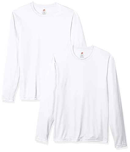 Hanes Men's Long Sleeve Cool Dri T-Shirt UPF 50+, Medium, 2 Pack ,White