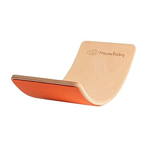MEOWBABY Balance Board Curvo in Legno 80x30 cm con Feltro Equilibrio Tavoletta D equilibrio Curva per Bambini tavola equilibrio Waldorf Montessori Made in EU Arancione