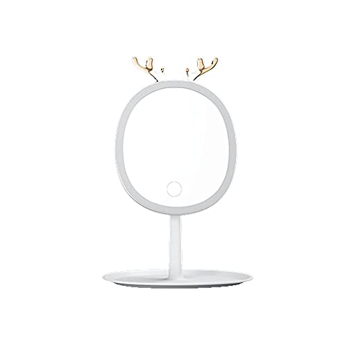 JIYANANDPHZJ Espejo Espejo de Maquillaje Iluminado, Espejo led con Pantalla táctil Regulable, rotación de 360 ° Espejo de Espejo de vanidad Desmontable, Espejo de Mesa cosmético Recargable portátil