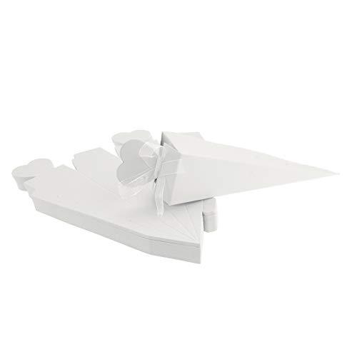 FLOWOW 50 Bianco Forma di Gelato Cono Coni portariso Scatola portaconfetti scatolina bomboniere segnaposto con Nastrino per Matrimonio Nozze Compleanno Battesimo Comunione Nascita Laurea Festa Natale