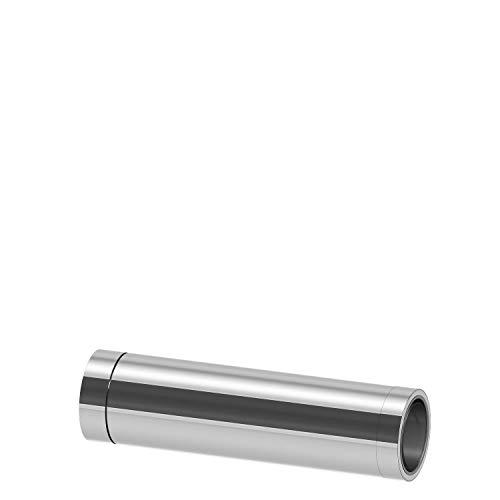Edelstahlschornstein Schornstein Einzelteil doppelwandig Wanddurchführung 1000mm kürzbar Ø120mm Innendurchmesser 25mm Isolierung 0,5mm Materialstärke Übergang EW-DW