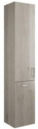 Burgbad Eqio hoge kast met 1 deur en 1 wasmand, deurscharnieren links, breedte: 350 mm, Kleur (voorzijde/karkas): Eikenhouten decorflanel / Eikenhouten decorflanel, bargreep chroom P95 - HSFC035LF2632P95