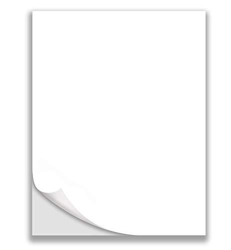 "8.5"" x 11"" - Full Sheet Labels, Blank White Matte Permanent Adhesive Sticker Labels for Laser/Ink Jet Printer (50 Sheets)"
