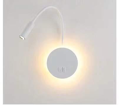 Budbuddy Luz de lectura blanca Apliques para lectura en interior Lámpara de lectura LED lámpara de cama Lámpara de pared...