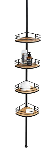 Wenko Dolcedo-Estantería esquinera telescópica de bambú y Acero Inoxidable, Altura Regulable con 4 estantes, Negro, 31 x 65-275 x 23 cm