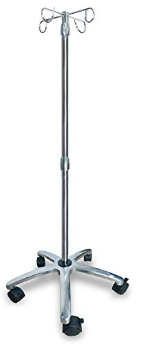 [Upgraded] IV Pole with Wheels, IV Stand Pole 45 Lbs Capacity with Aluminum Base & Adjustable Hose Stand, IV Bag Stand with 4 Hooks & 5 Caster Wheels with Lock, IV Bag Holder, Infusion Stand