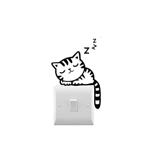 TTPixie Calcomanía para dormir con gato pequeño interruptor de luz, vinilo extraíble para el hogar, pequeñas calcomanías de luz para decoración de habitación de niños, 10 x 7 cm